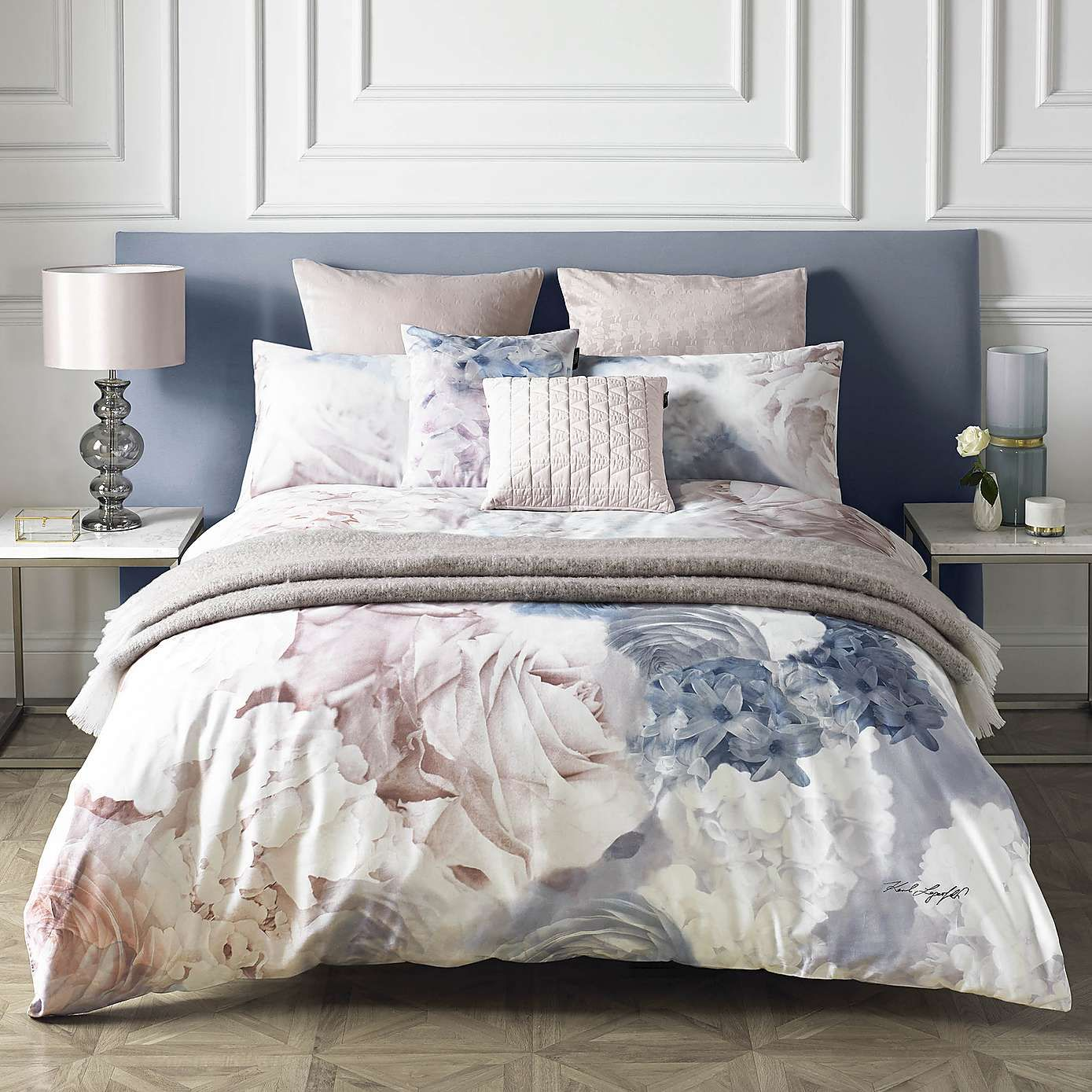 Karl Lagerfeld Flourish Digitally Printed 100 Cotton Duvet Cover Dunelm In 2020 Bed Linens Luxury Blue Bedding Bed Linen Design