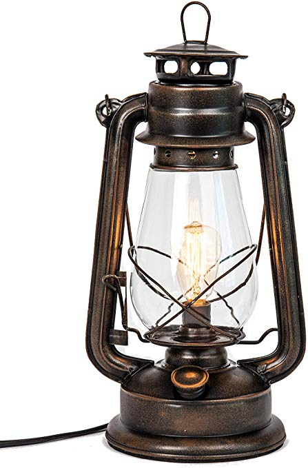 Amazon Com Dimmable Electric Lantern Lamp With Edison Bulb Included Rustic Rust Finish Kitchen Di Electric Lanterns Lantern Table Lamp Lantern Candle Decor