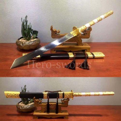 New-Dao-Chinese-Sword-Gold-Kang-Xi-King-Saber-Folded-Steel-Knives-Christmas-Gift
