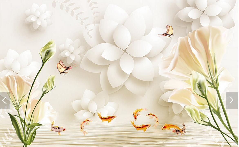 Tulipa Branca Lily Floral 3d Pap Is De Parede Mural Home Decor  ~ Mural De Fotos Na Parede Do Quarto