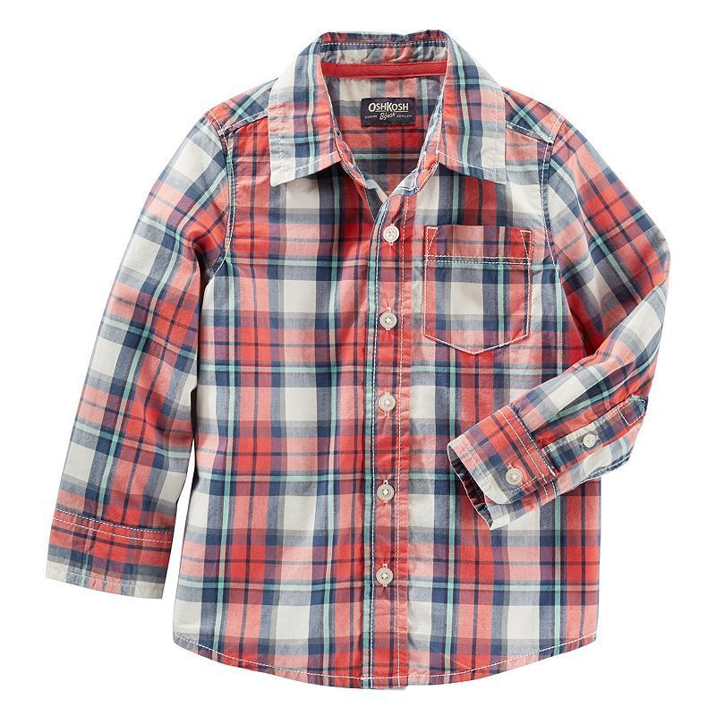 Toddler Boy OshKosh BgoshAR Long Sleeve Orange Plaid Poplin Button Down Shirt Size 2T Ovrfl Oth