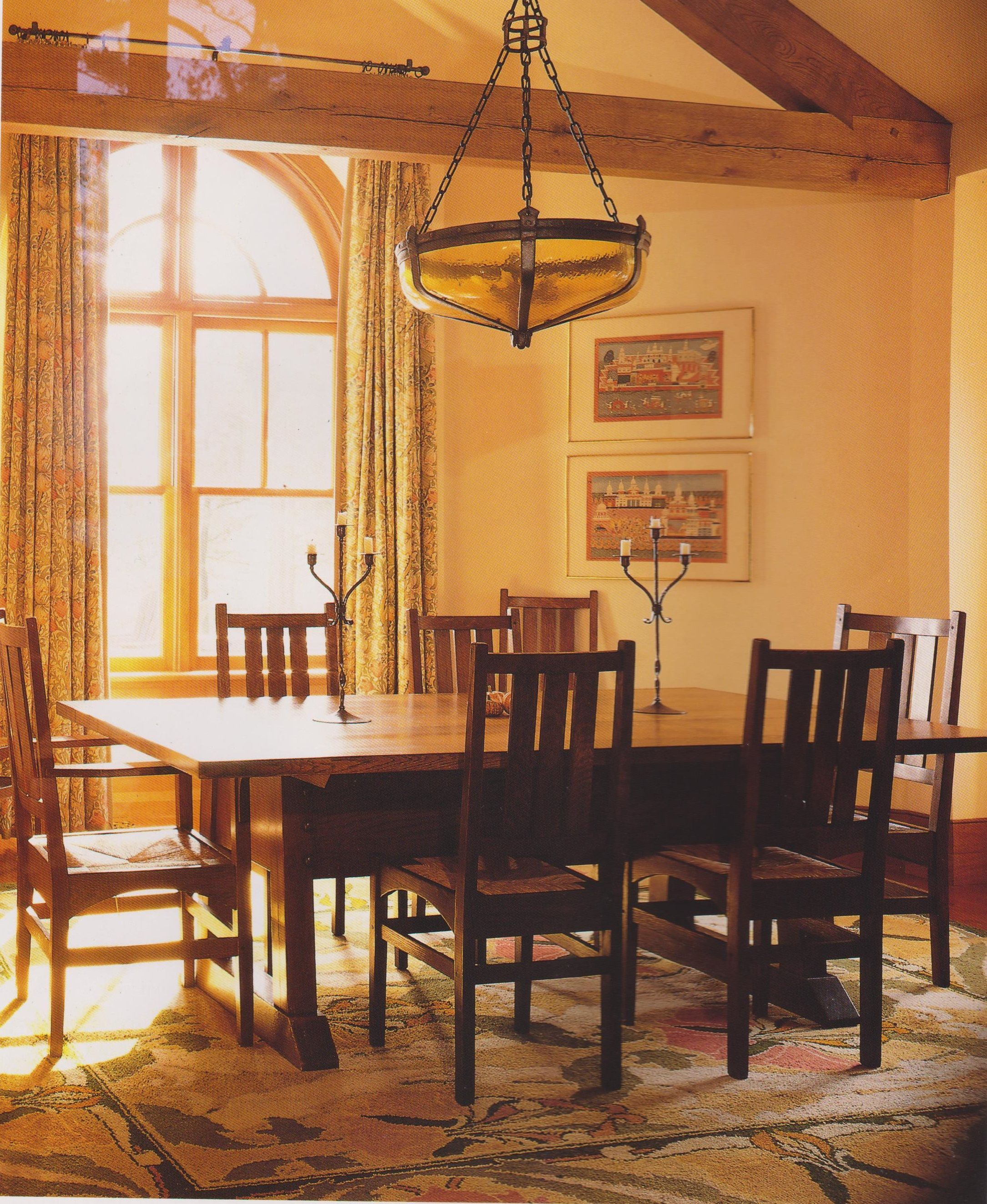 Arts & Crafts dining room with C F A Voysey designed carpet