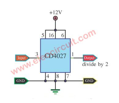 Two divide counter circuit using IC-4027 | Circuits, Function ...