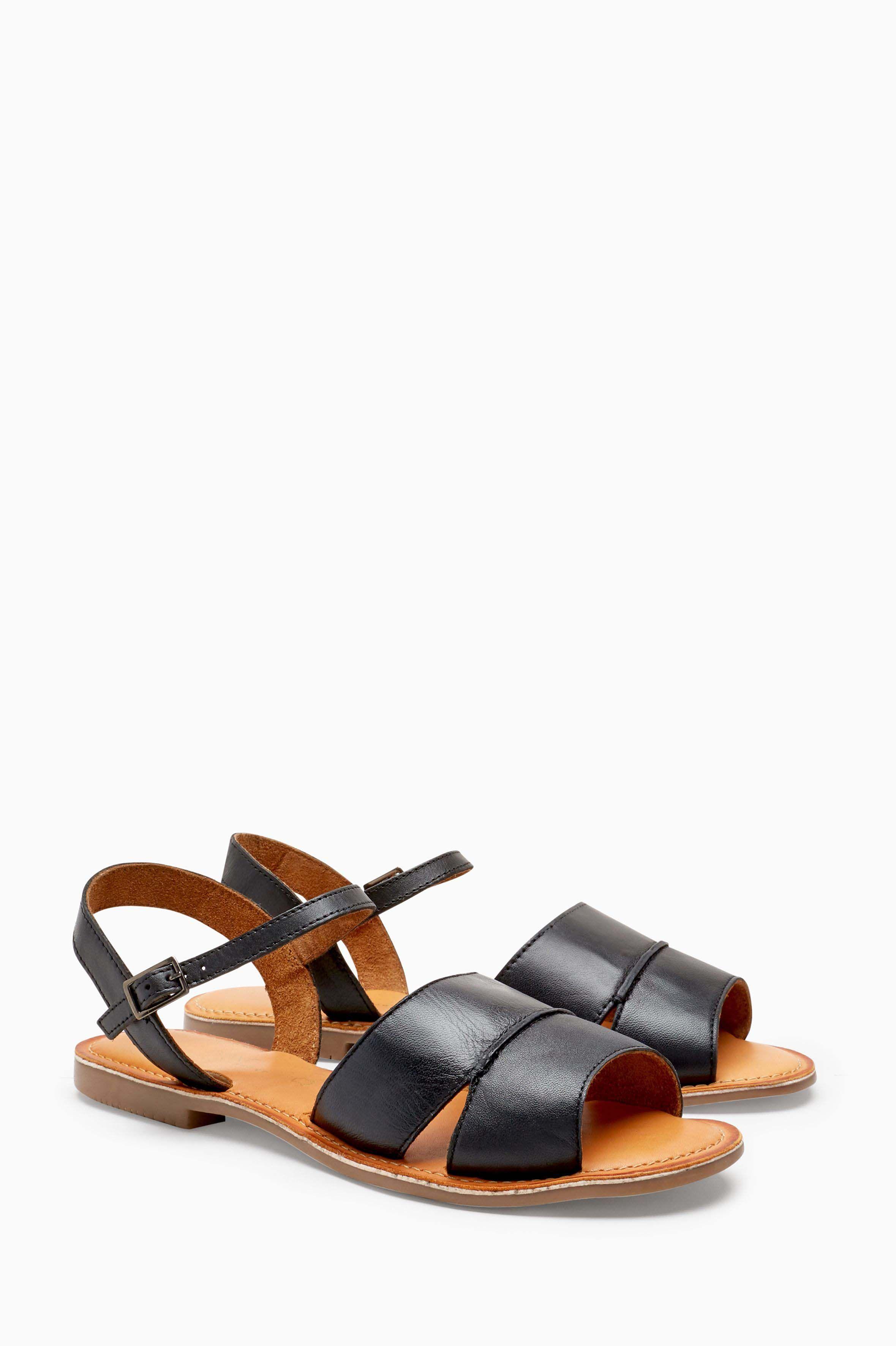 Black Leather Two Part Sandals - Black