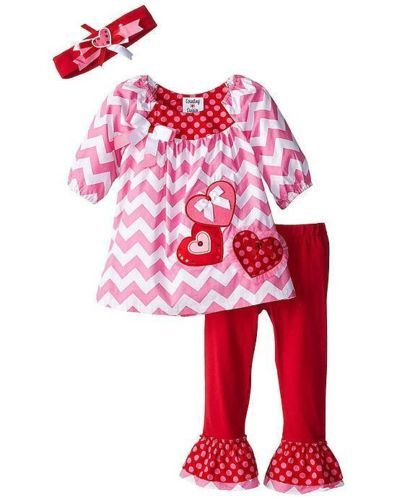 Rare Editions Girls Red Valentines Holiday Knit Tunic Legging Set 12M 5 6