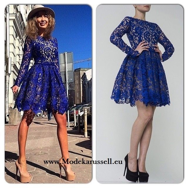 Langarm Cocktailkleid in Blau mit Spitze | Cocktailkleid | Pinterest ...