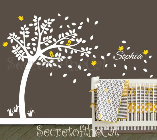 Beautiful Nursery Wall Decal. Wall Decals Nursery. Nursery Decal. Tree And Custom  Name Wall Decal. Windy Tree Decal . Monogram . Nursery