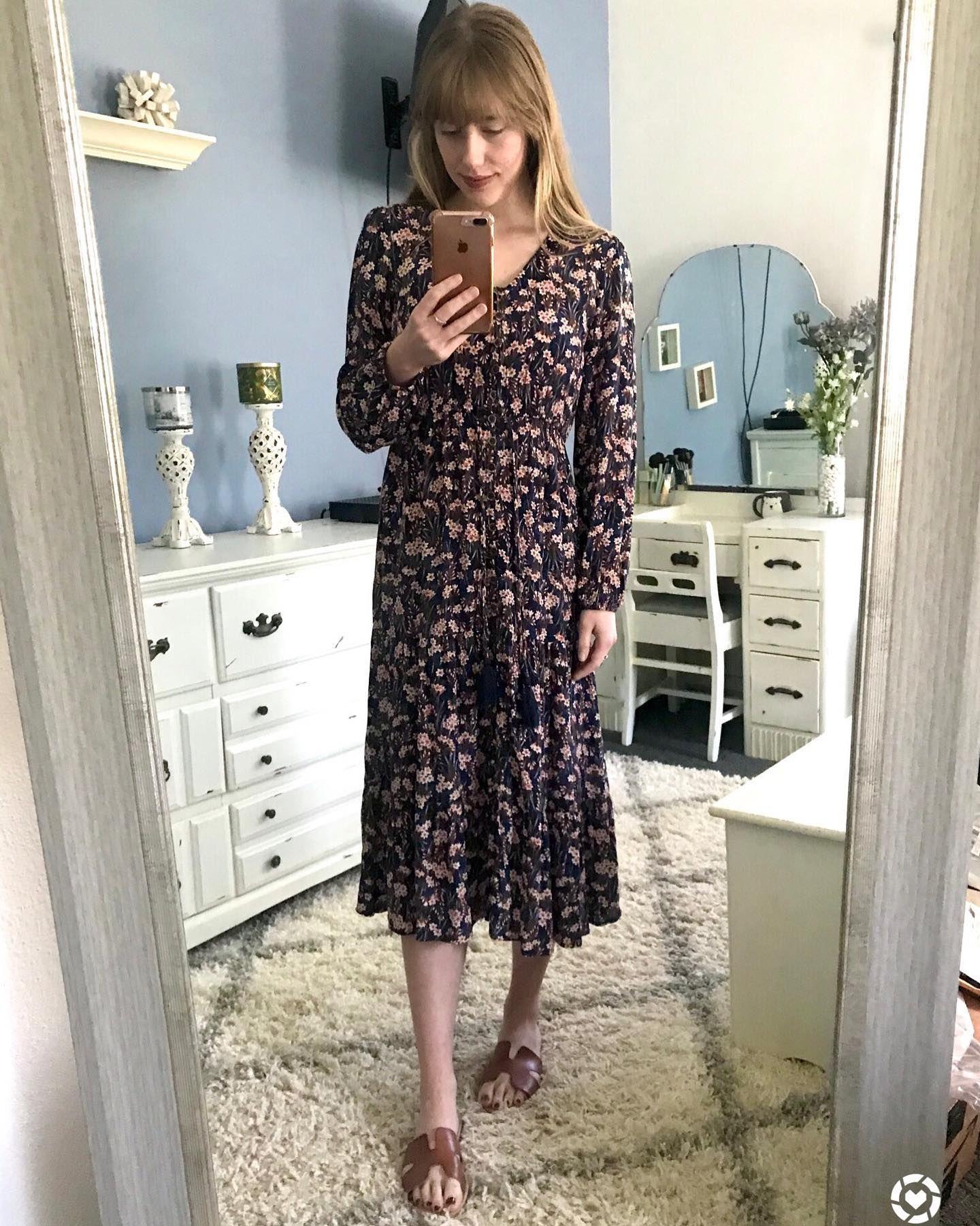 Women S Floral Print Long Sleeve Midi Dress Knox Rose Navy Target Long Sleeve Midi Dress Long Sleeve Midi Long Sleeve [ 1800 x 1440 Pixel ]