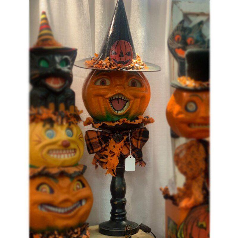 Christopher James Creative Designs Vintage Paper Mache Pumpkin On Pedestal Halloween Figure Paper Mache Pumpkins Halloween Paper Vintage Paper
