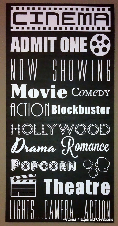 12x24 Movie Cinema Themed Typography Word Art Painting