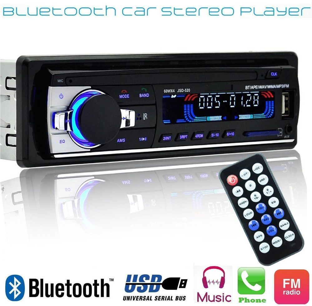 12V FM In-Dash Car Stereo Radio 1 DIN SD//USB Bluetooth Handsfree Head Unit