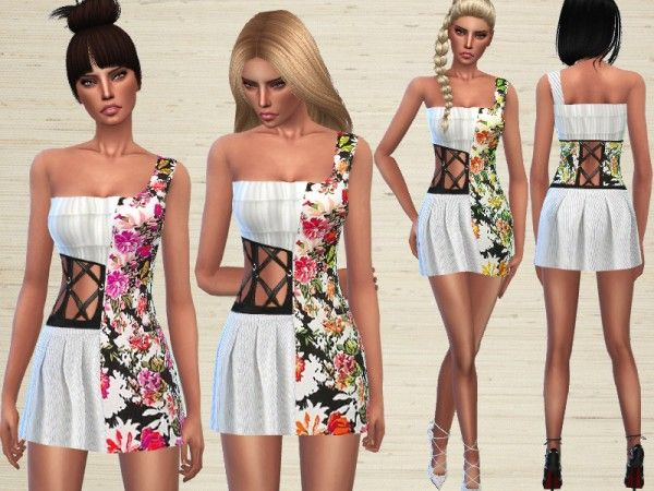 The Sims Resource: Floral Dress by Puresim • Sims 4 Downloads