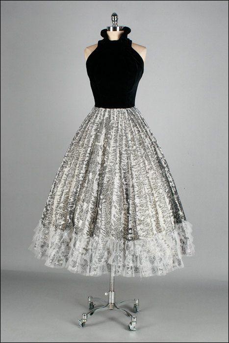 Vintage 1950's Dress with a Black Velvet Bodice and White and Black Skirt