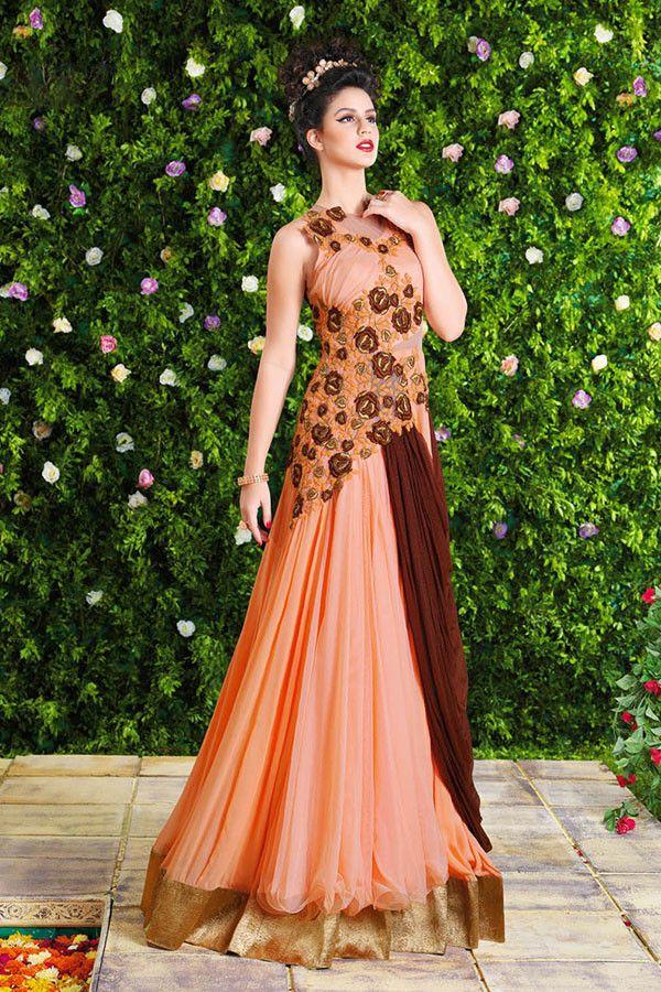 Splendorous Peach Georgette Floor Length Anarkali Party Wear Gown