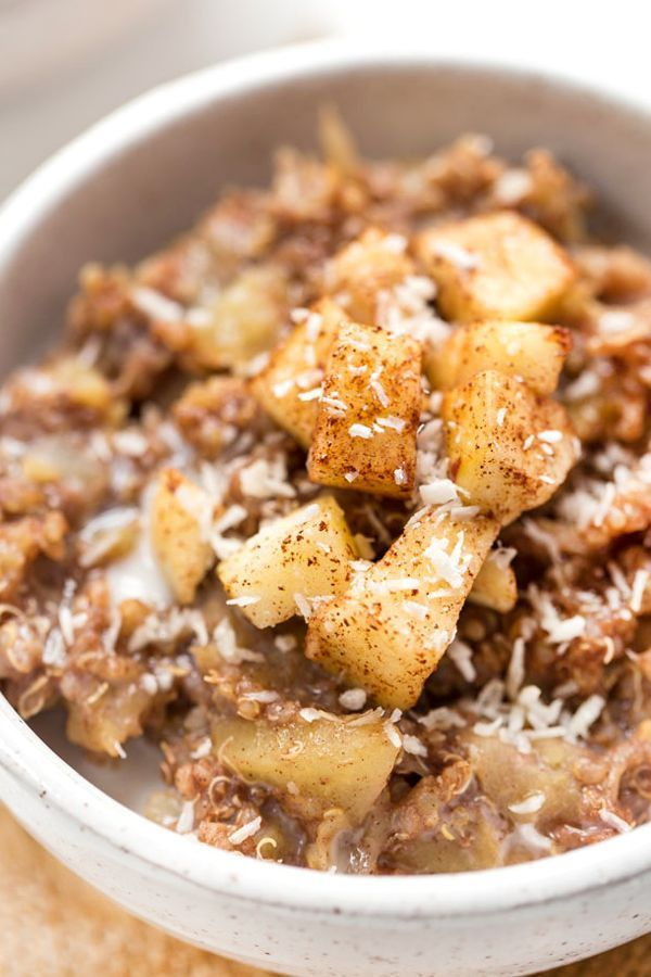 This Cinnamon Apple Breakfast Quinoa is a healthy & gluten-free option for starting your day! Fiber- and protein-packed so it will keep you feeling full and satisfied all morning long!
