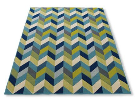 Grandin Road Navy Lime Blue Green White Chevron Rug Via Room