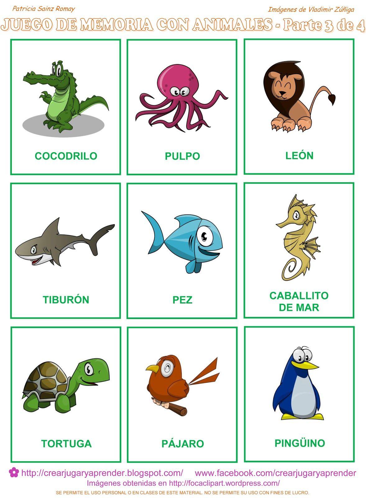 Ahora la parte tercera del memorama de animales a colores: Para ...