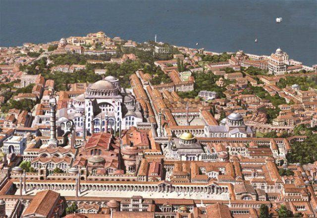 Δείτε πως ήταν η Κωνσταντινούπολη πριν την Άλωση | Roman city, Hagia  sophia, Byzantine architecture