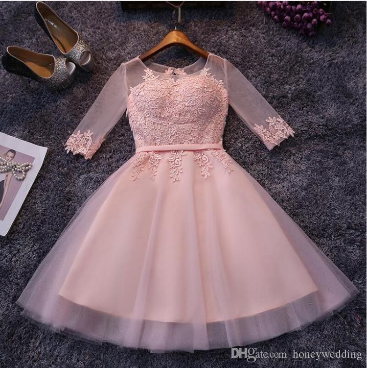 Cheap Fashion Short Cocktail Party Dresses 2016 Sheer Jewel Neck ...