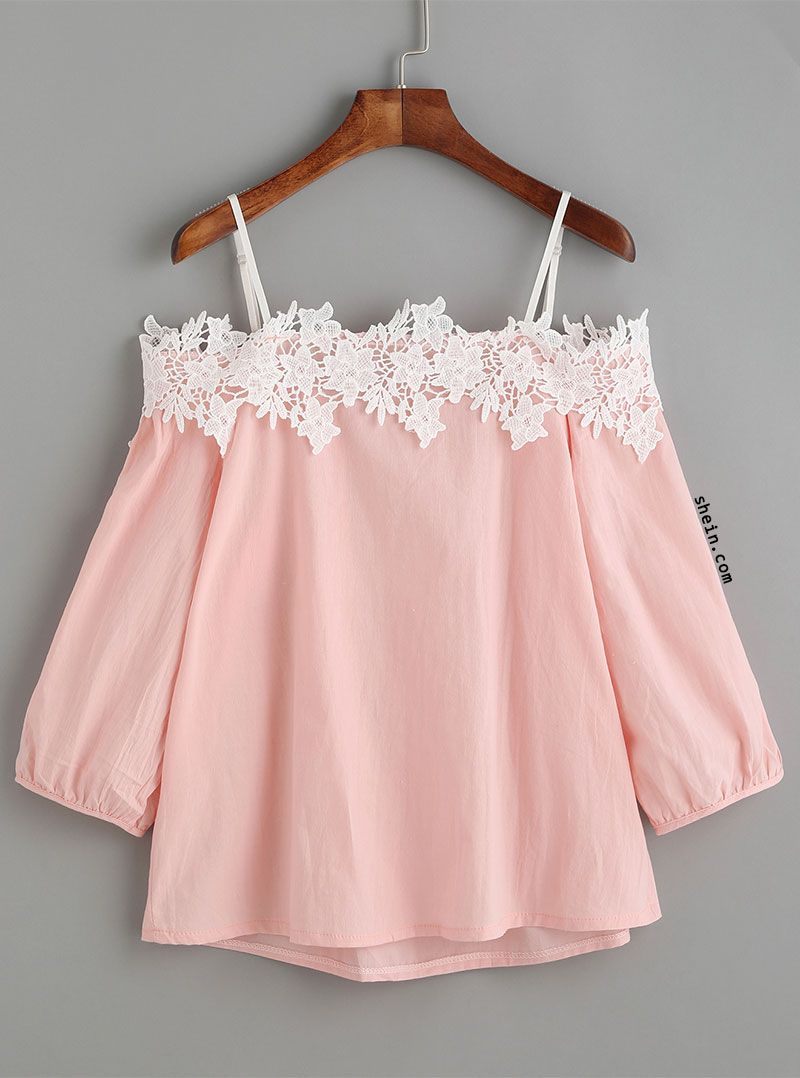 192a8b776f99f Pink Embroidered Lace Applique Cold Shoulder Blouse