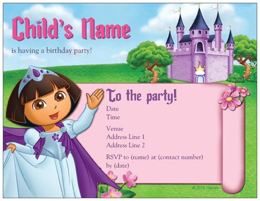 Blank Custom Dora Cheap Birthday Invitations Cards | Birthday ...