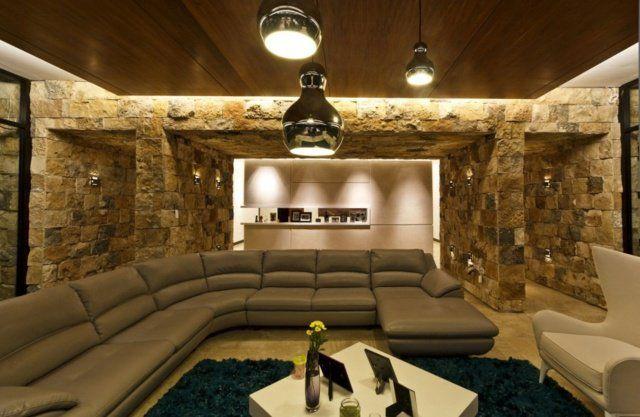 dcoration et design du salon moderne en 107 ides superbes - Idee Deco Salon Avec Mur Pierre
