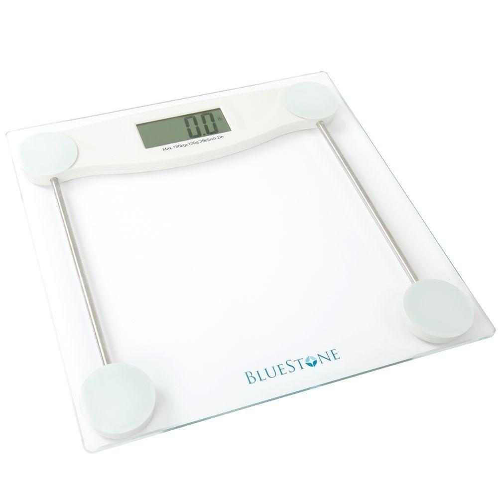 Bluestone Digital Lcd Display Glass Bathroom Scale White Glass