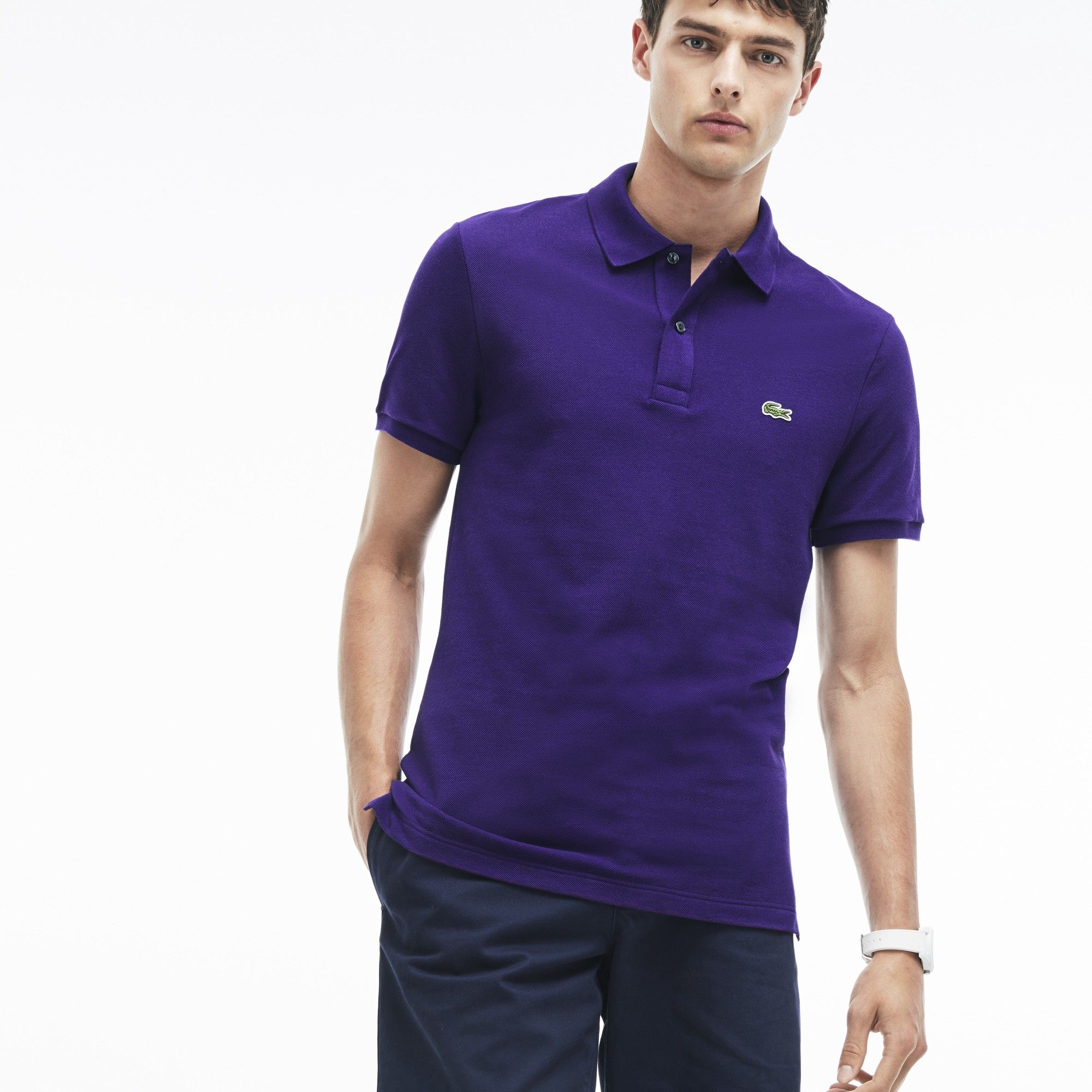 20ae8f42839d89 LACOSTE Men s Slim Fit Petit Piqué Polo Shirt - tanzanite purple.  lacoste   cloth