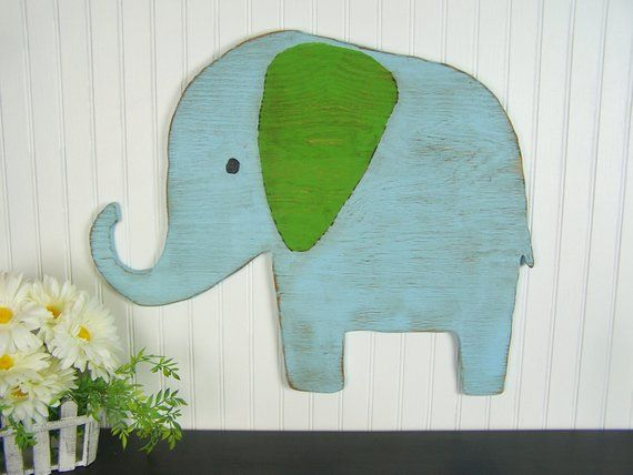 Wooden Elephant Wall Art Baby Elephant Nursery Decor Safari Nursery