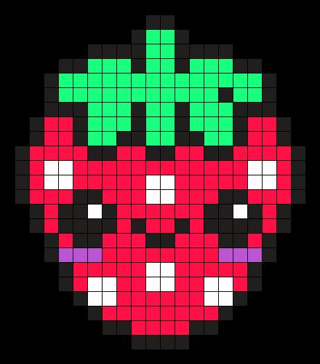 Fraise Kawaii Point De Croix Pixel Art Fraise Coloriage