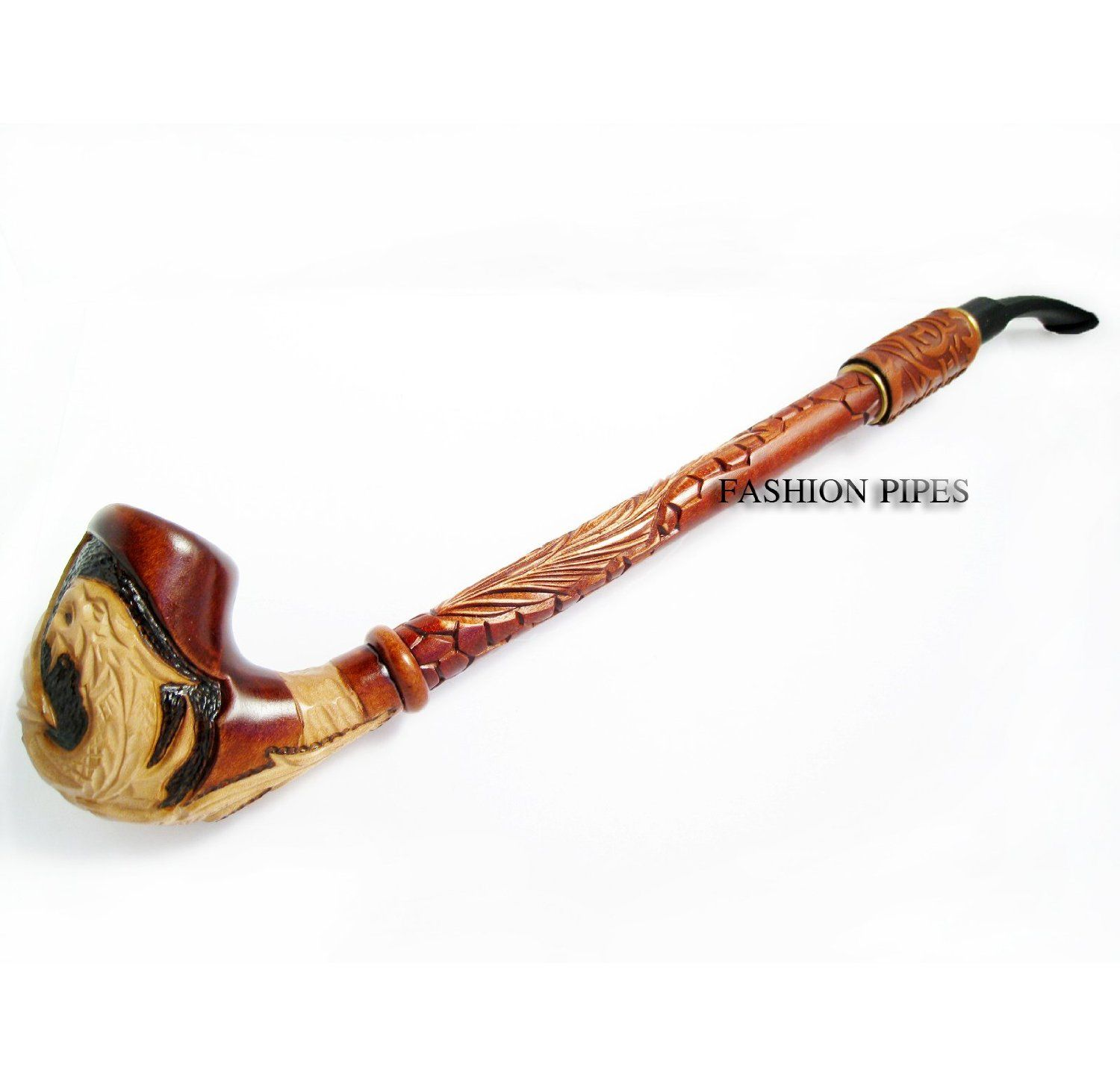 Amazon.com: Exclusive Pipe Dragon Decorated with Leather. Churchwarden 13''  Wooden Pipe Handcrafted. Exclusive Designed for Pipe Smokers: Health &  Personal ...