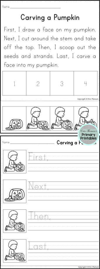 Students Will Sequence Using The Words First Next Then And Last Includes Story And Writing Pro Kindergarten Writing Sequencing Worksheets 1st Grade Writing