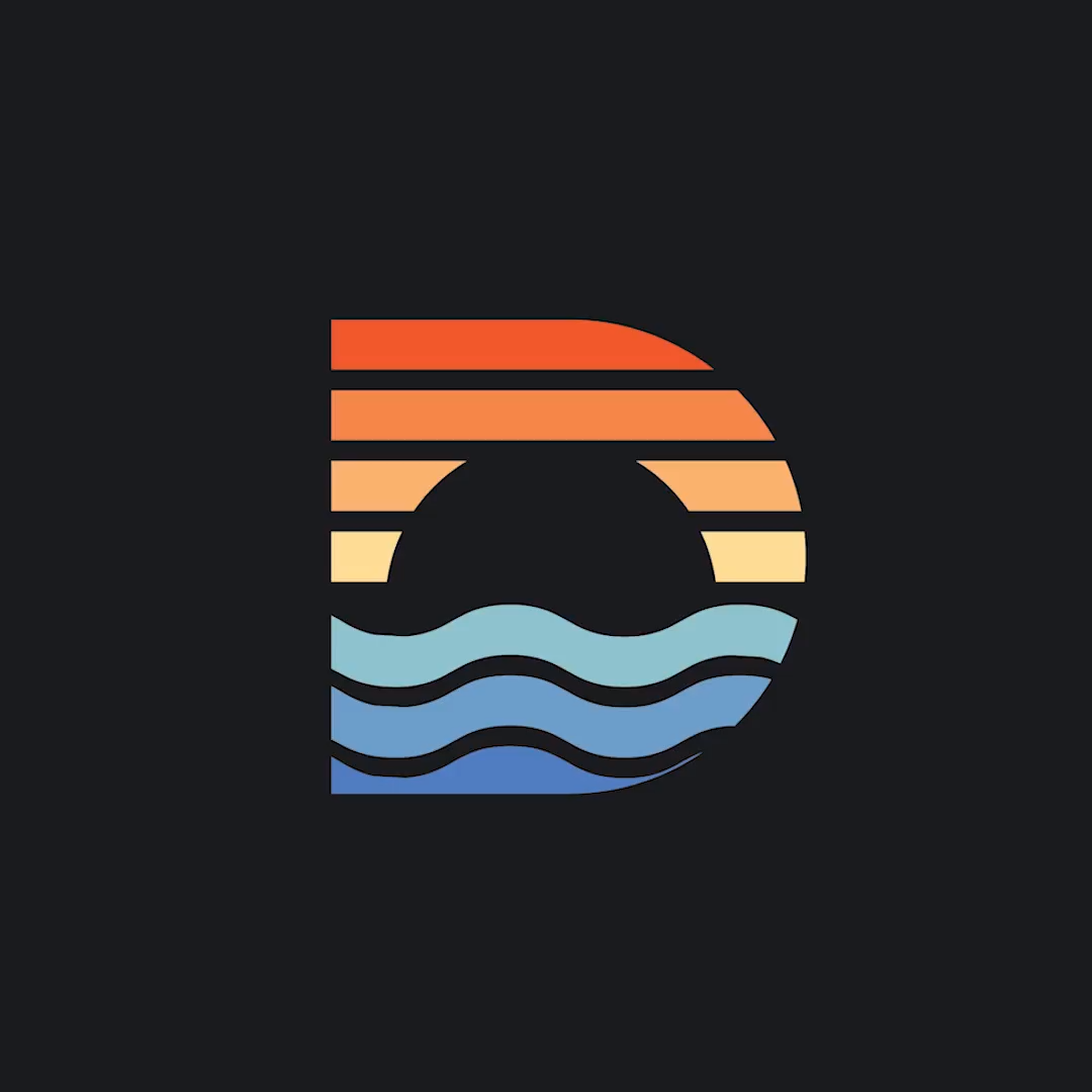 Creative D monogram logo design, Beach sunset symbol, 2019 trending colors, #graphicdesign