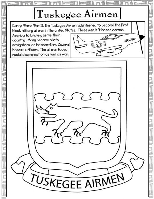 black history coloring pages tuskegee airmen and black soldiers - Black History Coloring Pages