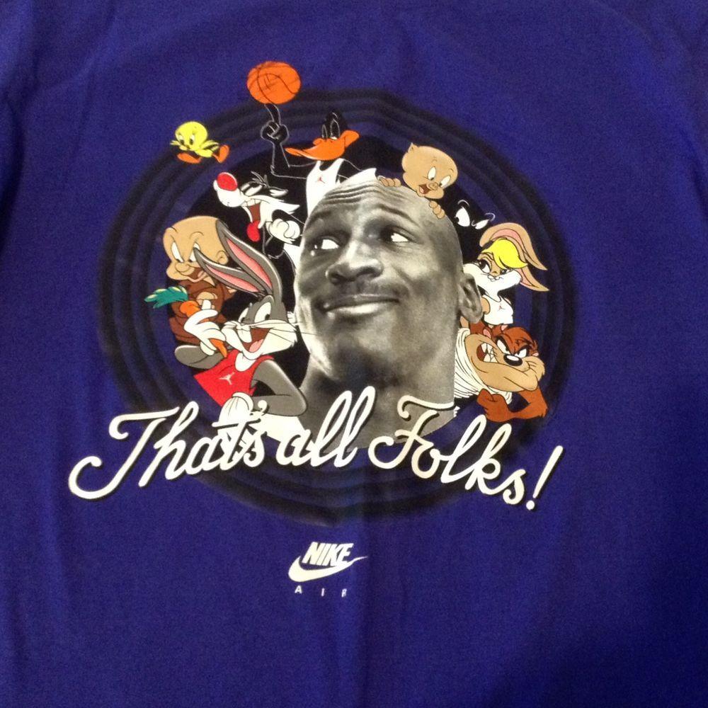 0ae56f501d581 Looney Tunes Michael Jordan Nike Air T Shirt Size L Basketball 20th ...