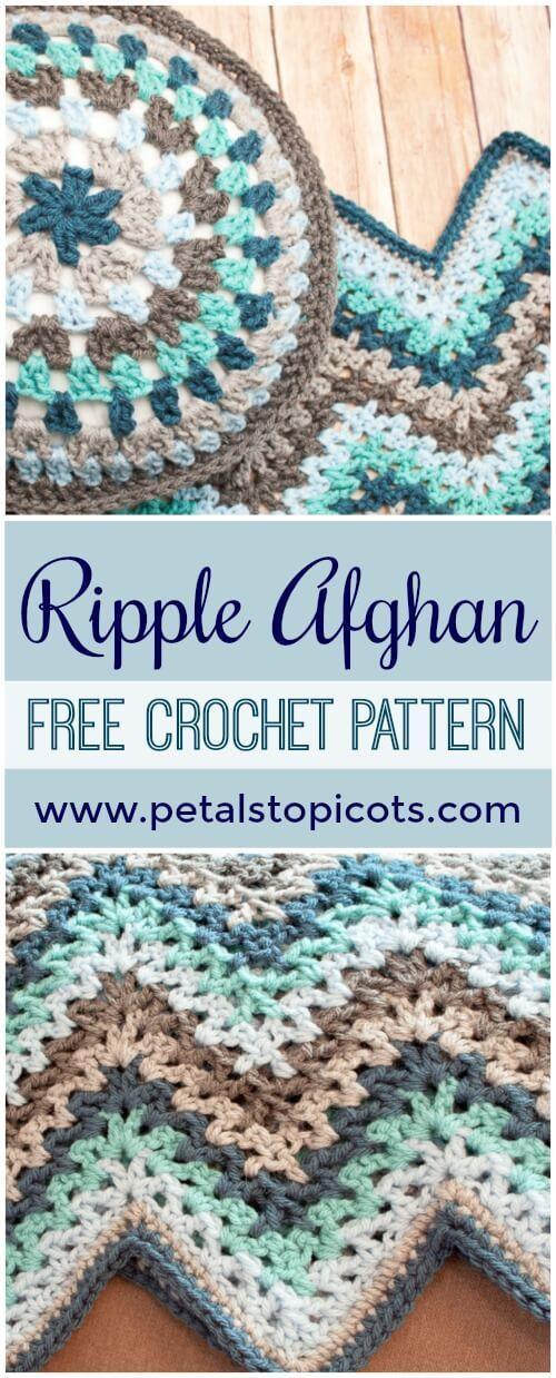 V-Stitch Ripple Afghan - Free Crochet Pattern #afghanpatterns