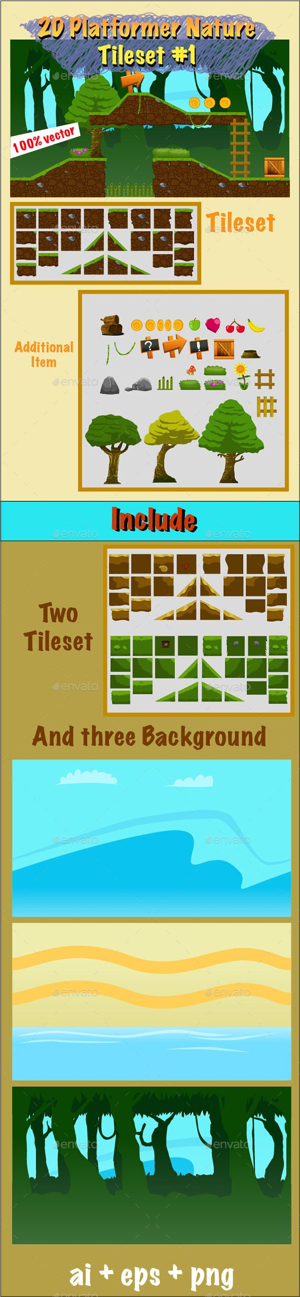 2D Platformer Nature Tileset #1 (Tilesets) | Game Assets