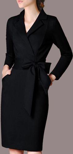 dadbad487f0 Solid Long Sleeve Knee-Length Sheath Dress in 2018