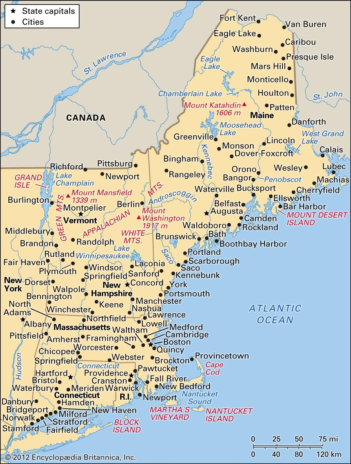 New England Map Usa United States New England Travel - Map of us and england