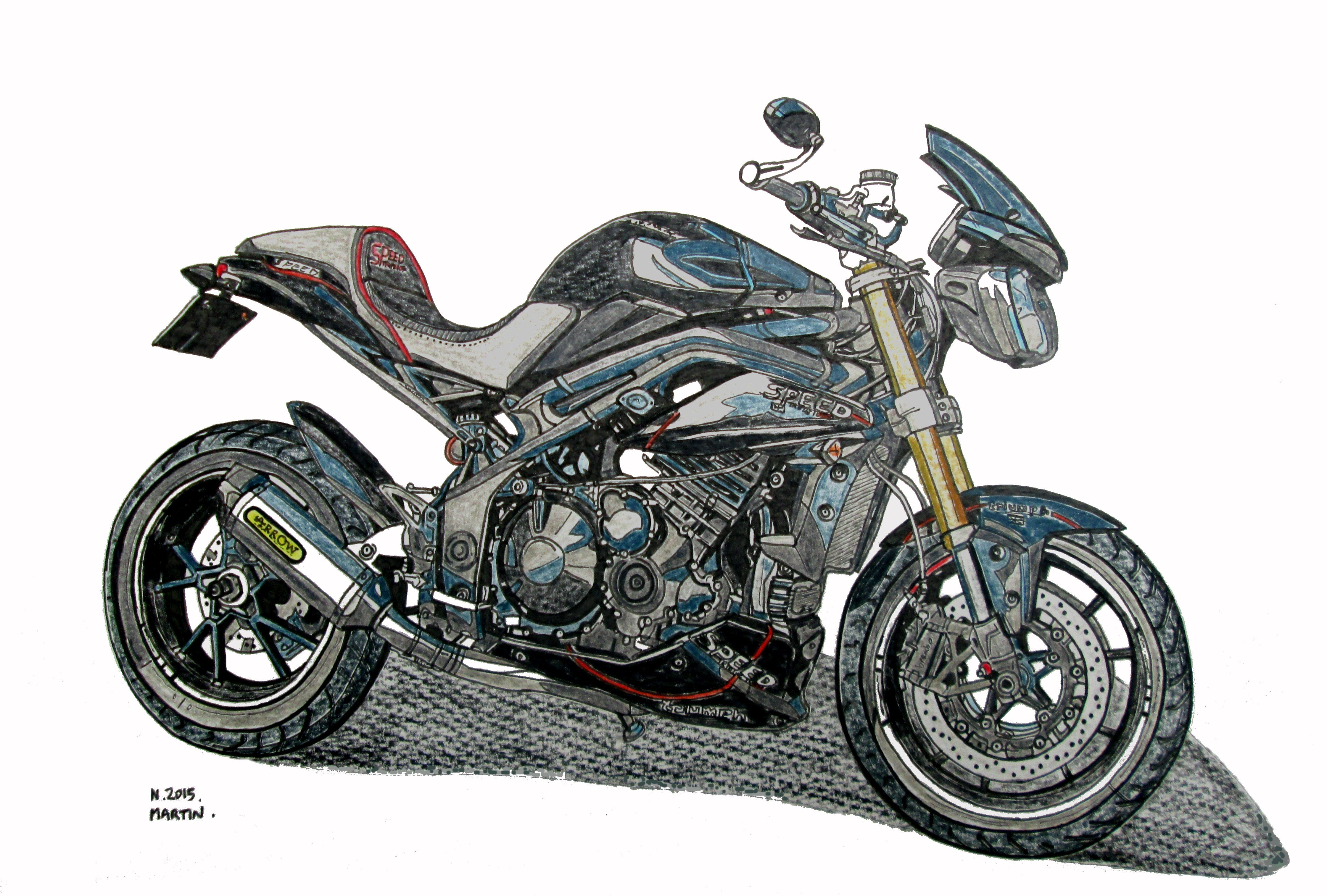 My Triumph Speed Triple 1050 Hand Drawn Drawing I Can Also Draw