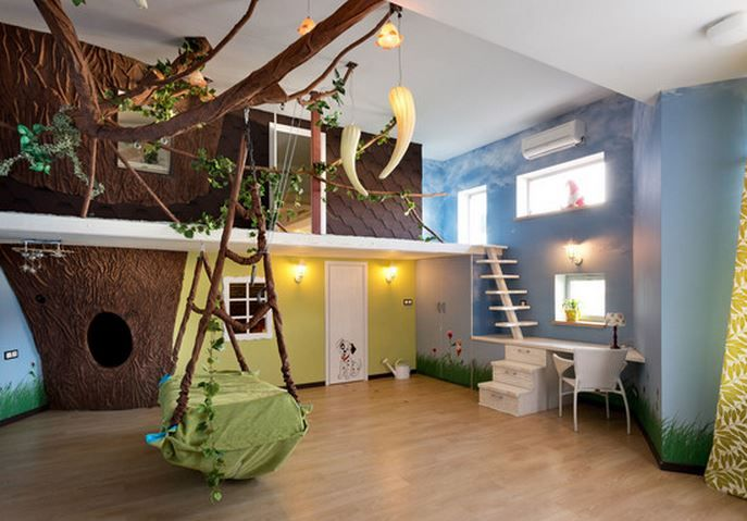 Bed room with a mannequin resembling a tree house, and made ...