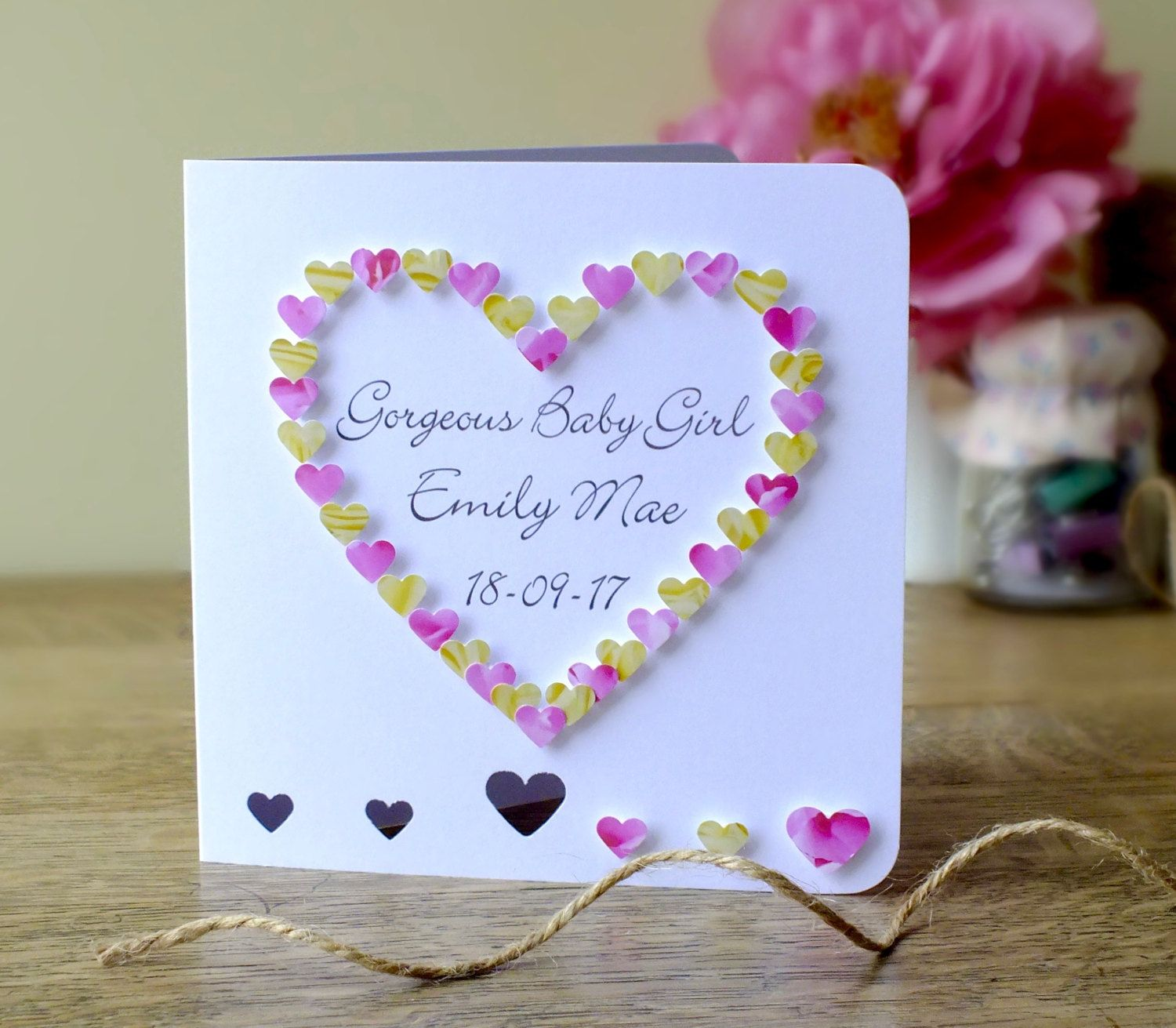 handmade 3d new baby girl card personalised name and date gorgeous baby girl congratulations card new baby card personalized bhe28 by cardsbygaynor