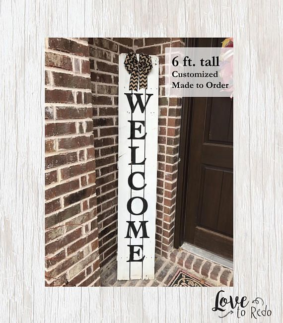White Welcome Sign Wood Porch Sign Entryway Sign Custom Reclaimed