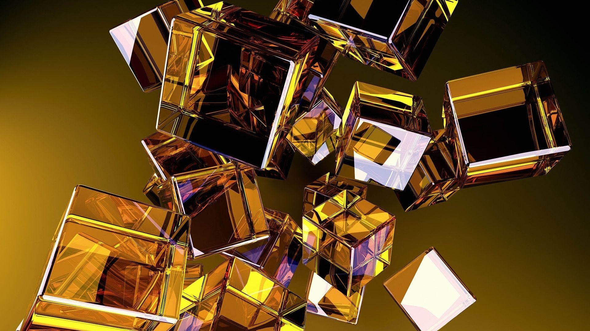 3d Glass Cubes Gold Wallpaper Wallpaper 3d Wallpaper