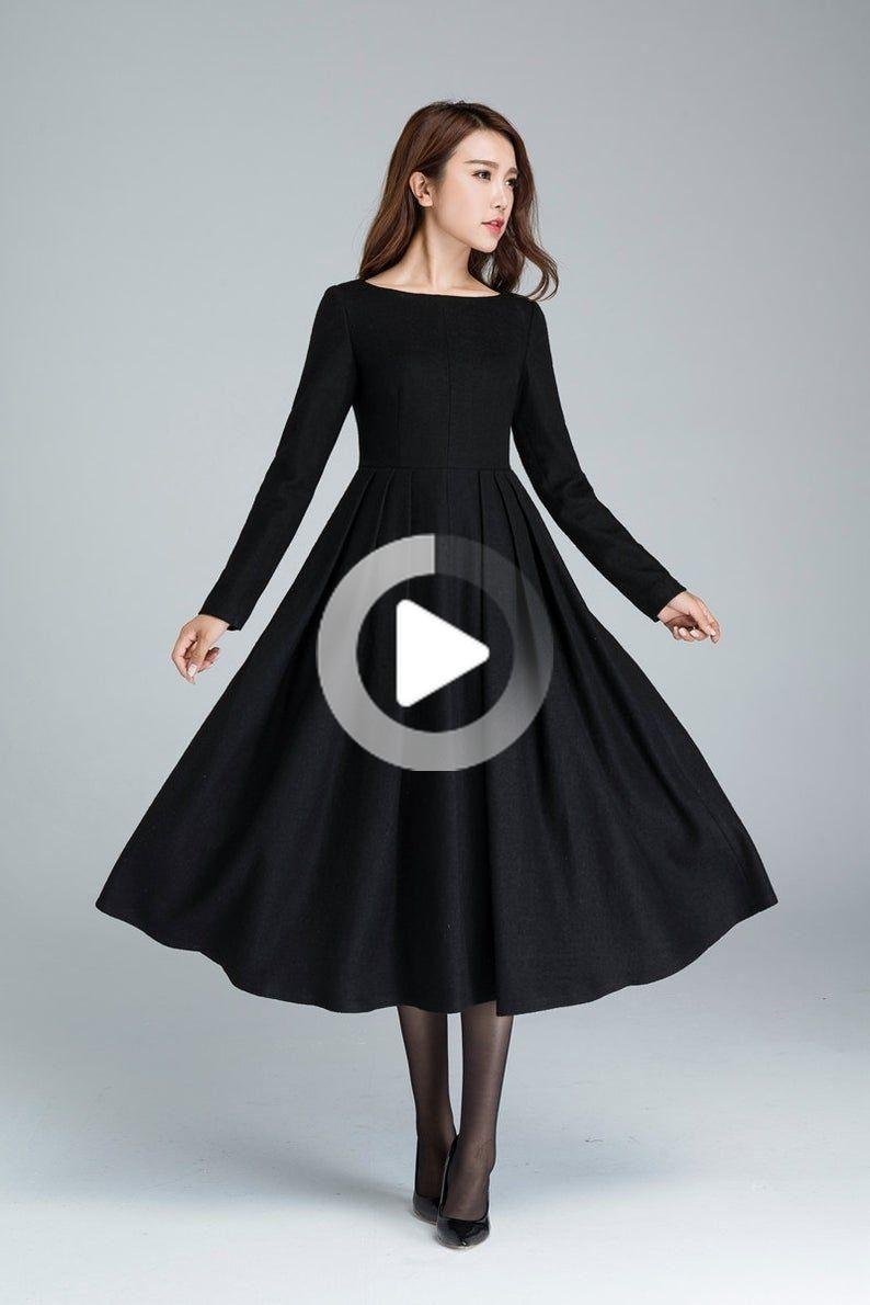 Black wool dress, winter dress, midi dress, pleated dress, fitted and flare dress, evening #fitness...