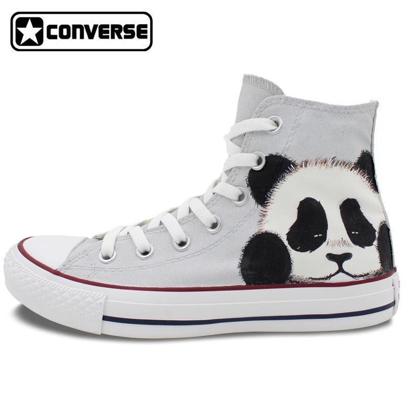 cafe76887 Converse all star de los hombres de las mujeres zapatillas panda diseño  original pintado a mano zapatos de lona niños niñas zapatos de skate  personalizado