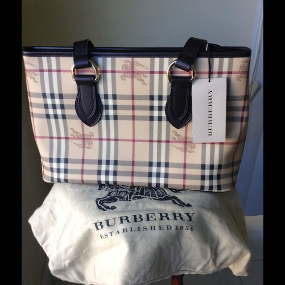 Authentic BURBERRY Haymarket Tote Bag NEW Burberry Haymarket Regent  Landscape Tote f2a5ceb52b415
