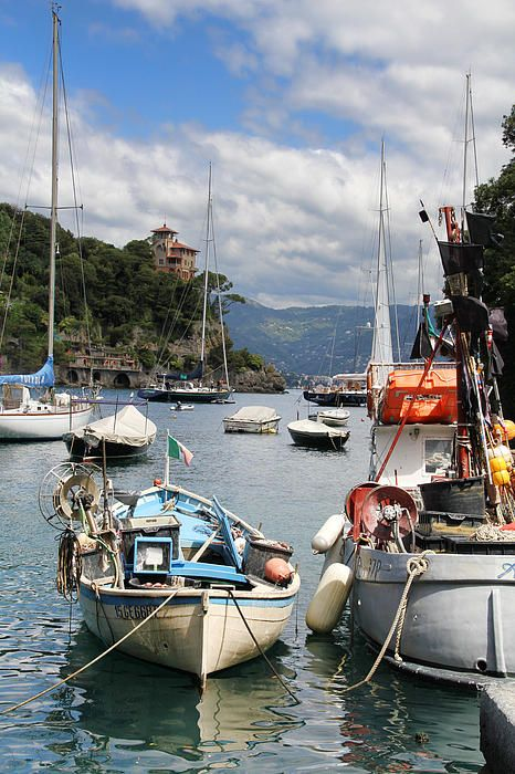 HDR photo of boats docked  in the harbor at Portofino, Italy by Nancy Ingersoll on Fine Art America.