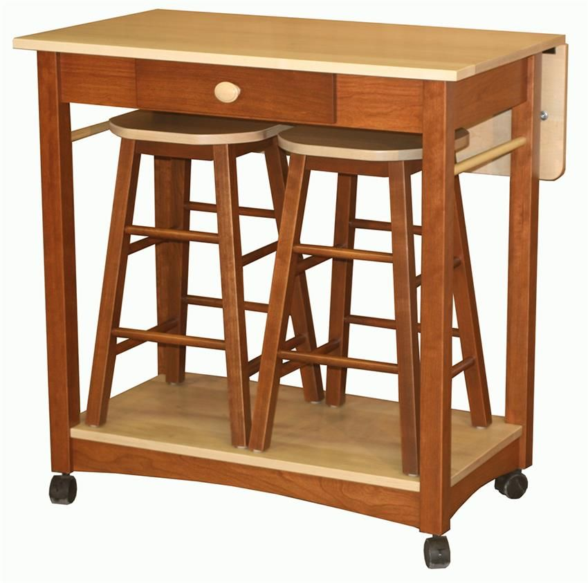 Amish Guest Server Kitchen Island With Two Bar Stools