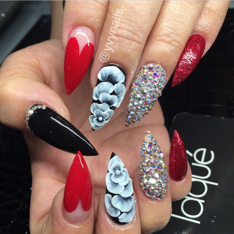 Inspiration Discovered By Alisia Small Stiletto Nails Red